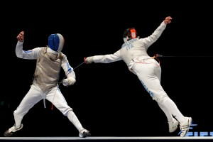 Going all in, a fleche attack in fencing
