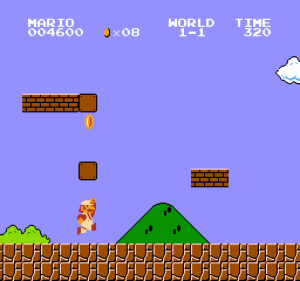 Mario collecting a coin in super mario bros 1