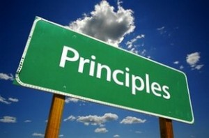 "A street sign that says ""Principles"""